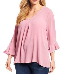 Plus Size Inverted Pleat Front V-Neck Fluted Sleeve Top