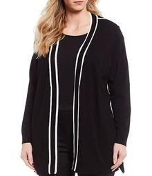 Plus Size Contrast Pipe Trim Open Front Long Cardigan
