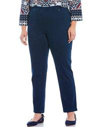 Plus Size Knitted Indigo Twill Pull-On Pants