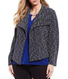 Plus Size Tweed Textured Knit Open Front Jacket