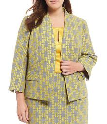 Plus Size 3/4 Sleeve Kissing Front Jacquard Plaid Jacket