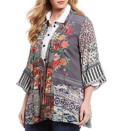Plus Size Mixed Media Floral Print Embroidered Kimono