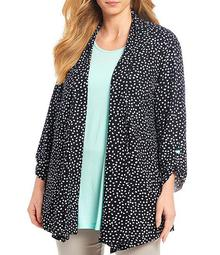 Plus Size Dot Print Banded Shawl Collar Open Front Jacket