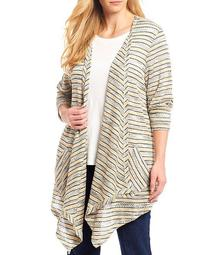 Plus Size Tuck Stitch Marled Stripe Open-Front Cardigan