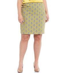 Plus Size Jacquard Plaid Pencil Skirt