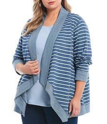 Plus Size Double Face Stripe Print Jersey Open Front Cascade Cardigan