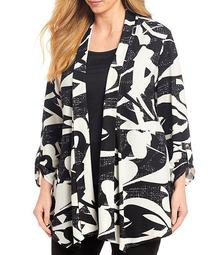 Plus Size Abstract Print Banded Shawl Collar Open Front Jacket