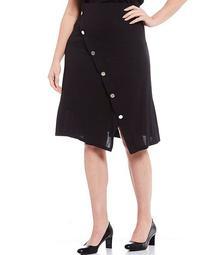 Plus Size Stretch Crepe Asymmetrical Button Trim Skirt