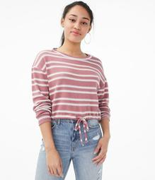 Long Sleeve Seriously Soft Striped Cinched Crop Top