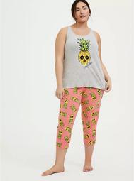 Coral Pineapple Skull Drawstring Crop Sleep Pant