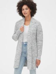 Spacedye Waffle-Knit Longline Cardigan Sweater