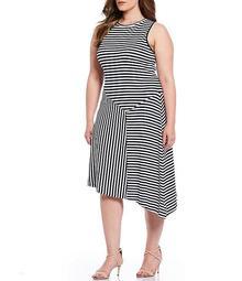 MICHAEL Michael Kors Plus Size Mix Panel Stripe Knit Jersey Asymmetrical Hem Sleeveless Midi Dress