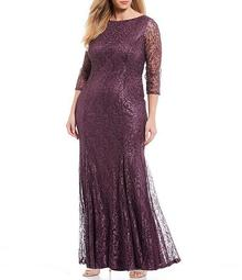 Plus Size Stretch Sequin Lace Scoop Back Mermaid Gown