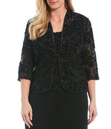 Plus Size Embroidered Soutache Lace Twinset
