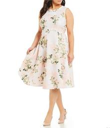 Plus Size Floral Fit and Flare Sleeveless Midi Dress