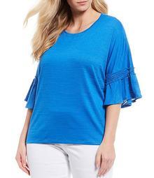 Plus Size Slub Knit Round Neck Lace Detail Flounce Sleeve Top