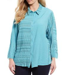 Plus Size Mixed Stripe Crinkle Button Front Long Sleeve Blouse