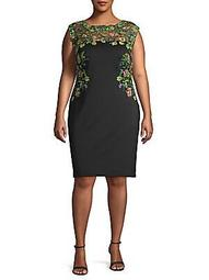 Plus Embroidered Floral Sheath Dress