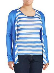 Plus Long-Sleeve Striped Top