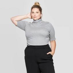 Women's Plus Size Elbow Sleeve Turtleneck T-Shirt - Ava & Viv™