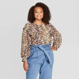 Women's Plus Size Animal Print Long Sleeve Scoop Neck Ruffle Shoulder Blouse - Who What Wear™ Brown