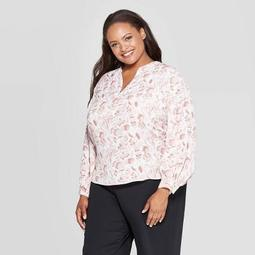 Women's Plus Size Floral Print Long Sleeve V-Neck Popover Top - Ava & Viv™