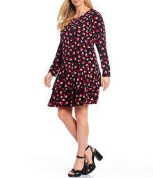 MICHAEL Michael Kors Plus Size Petal Passion Print Lux Matte Jersey Tiered Flounce A-Line Dress