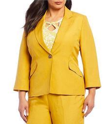 Plus Size Solid Single Button Blazer Jacket