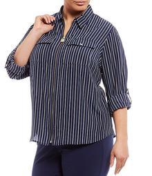 MICHAEL Michael Kors Plus Size Bi-Color Railroad Stripe Print Roll-Tab Long Sleeve Zip-Front Top