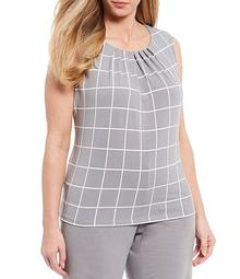 Plus Size Windowpane Print Matte Jersey Pleat Neck Sleeveless Top