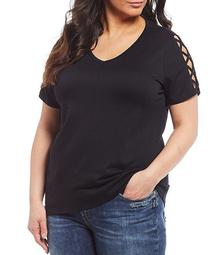 Plus Size Lattice Sleeve Detail Top