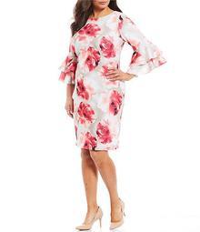 Plus Size Floral Print Ruffle Bell Sleeve Sheath Dress