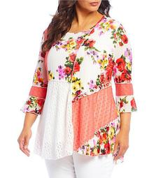 Plus Size Flare Sleeve Patchwork Floral Print Tunic