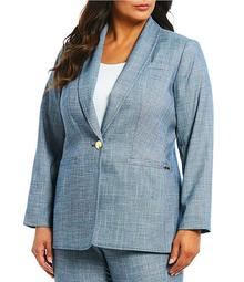 Plus Size Shawl Collar One Button Front Jacket