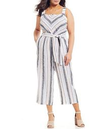 Plus Size Sleeveless Square Neck Striped Linen Wide Leg Cropped Jumpsuit