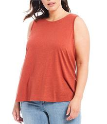 Plus Size Knit Twist Back Tank Top