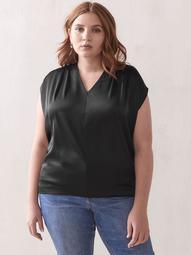 Extended Shoulder V-Neck Knit Top - Addition Elle