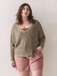 Pointelle Dolman-Sleeve Sweater - Addition Elle