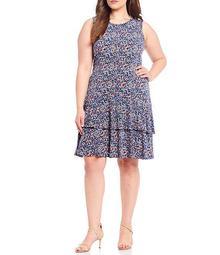 MICHAEL Michael Kors Plus Size Dainty Bloom Print Lux Matte Jersey Tiered Flounce A-Line Sleeveless Dress