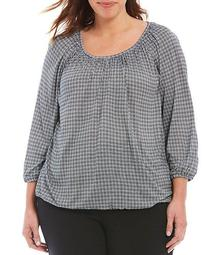 MICHAEL Michael Kors Plus Size Check Print Knit Jersey Scoop Neck 3/4 Sleeve Peasant Top