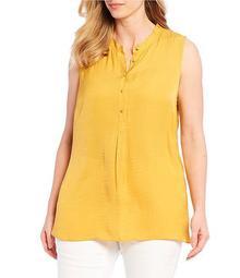 Plus Size Sleeveless Button Front Tunic