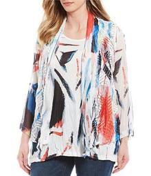 Plus Size Abstract Burnout 3/4 Sleeve Top