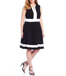 Plus Size Colorblock Zipper Detail A Line Dress