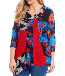 Plus Size Multi Floral Print Mixed Media Drape Neck Asymmetrical Hem Tunic