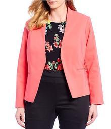 Plus Size Asymmetrical Tailored Blazer