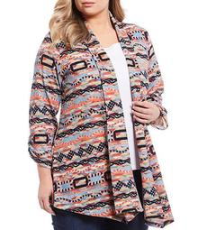 Plus Size Multi Print Shawl Banded Collar Open Front Jacket