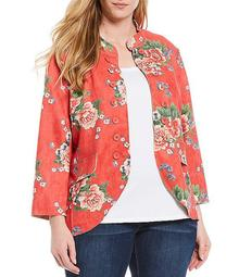 Plus Size Floral Print Mandarin Collar 3/4 Sleeve Double Button Faux Suede Jacket