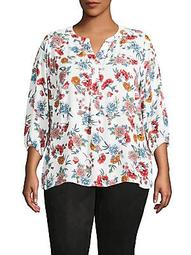 Plus Floral Tunic Top