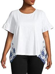 Plus Embroidered-Back Stretch Cotton T-Shirt