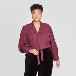 Women's Plus Size Floral Print Long Sleeve V-Neck Tie-Neck Blouse - Ava & Viv™ Dark Red 4X